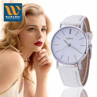 Geneve Silver Stainless Steel Round Dial PU Leather Quartz BusinessDress Wrist Watch Wristwatches Gift for Men Women (White)