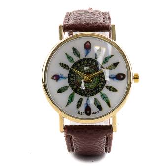 Glamorosa Geneva Tribal Feather Ladies Leather Watch (Brown)