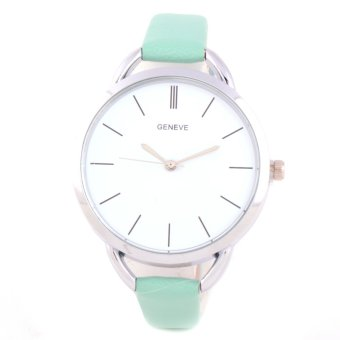 Glamorosa Geneve Ladies This Strap Leather Watch (Green)