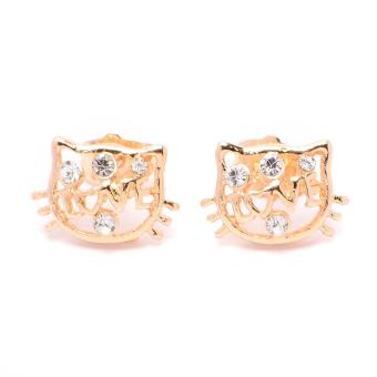Glamorosa Kitty With Diamond Dots Stud Earrings (Gold)