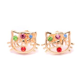 Glamorosa Kitty with Ruby Dots Stud Earrings (Gold)