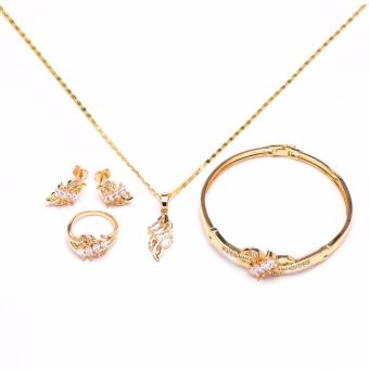 Glamorosa Lady Leaf in Diamond Accessories Set with Bangle (Gold)