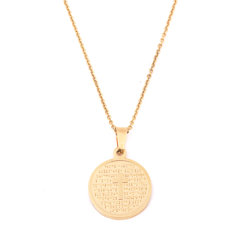 Glamorosa Padre Nuestro Prayer Round Chain Necklace (Gold)