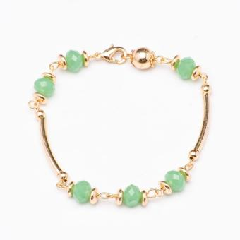 Glamorosa Peruvian in Light Green Beads Semi Bangle Bracelet (Gold) Price Philippines