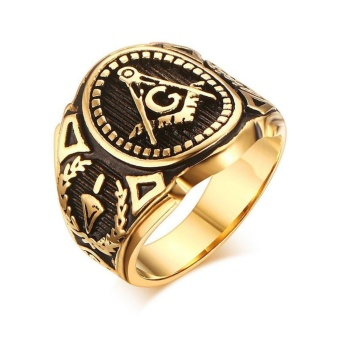 Gold Plated Vintage Freemason Symbol Masonic Ring for Men and Women - intl