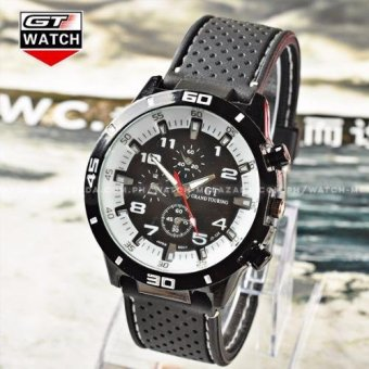 GT Men's Sports Racing Chronograph Style White Rim Black Silicone Strap Watch