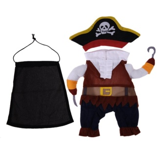 Halloween Pirate Design Funny Dog Clothes Cotton Soft Pet ClothingCostume(Brown)-S - intl