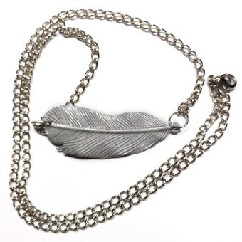 Handmade Harry HP Potter Feather Connector Necklace Pendant(Silver)