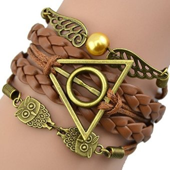 Harry Potter Deathly Hallows Snitch Owl Brown Synthetic Leather Bracelet - intl