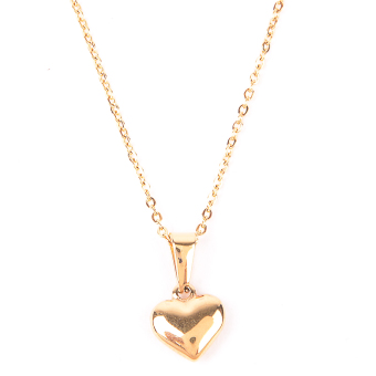 Heart Pendant Stainless Steel Necklace - Gold