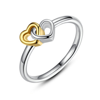 Heart to Heart Genuine 925 Sterling Silver Rings Interlocked Heartswith 14k Gold Plated Promise Engagement Wedding Rings (Intl)