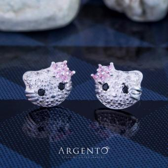 Hello Kitty C Stoned Face 925 Silver Stud Earrings