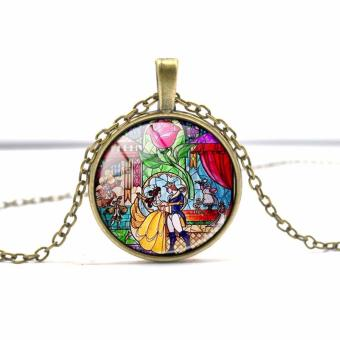 Hequ Wholesale Glass Picture Pendant Beauty and the Beast NecklaceRose Glass Pendant Art Pendant For Necklace - intl