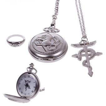 High Quality Store New New Vintage Cosplay Fullmetal AlchemistPocket Watch Necklace Ring Set (Silver)