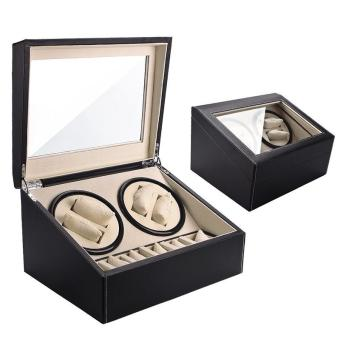 High Quality Store New Noblest 4+6 Automatic Rotation Leather WoodBox Display Watch Winder Organizer Storage Case Black Black