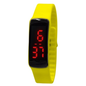 High Quality Unisex Yellow Jelly Silicone Strap Digital LED Sports Wrist Watch