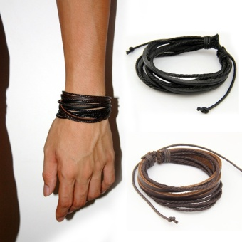 HOT Leather Bracelets & Bangles for Men and Women Black and Brown Braided Rope Fashion Man Jewelry 2pcs PI0246 - intl