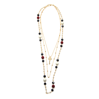 Athena & Co. Laurel Pearl Layer Necklace (Red/White/Gold) Price Philippines