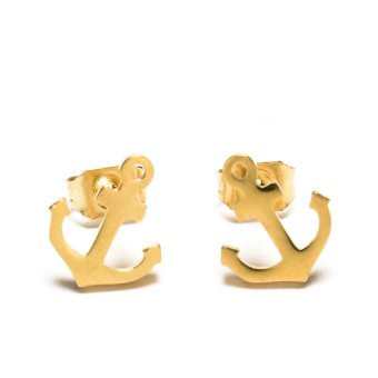 Lovely Anchor Stud Stainless Steel Earrings- Gold Price Philippines