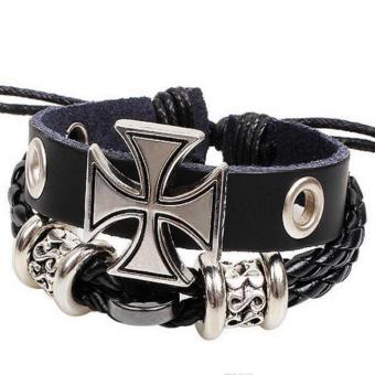 Harga Fashion Roman cross bracelet braided leather cord bracelets