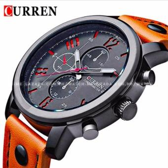 Curren Chronograph Style Even Numeral Aviator Design Leather Strap Watch Price Philippines