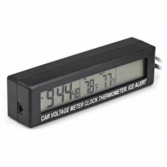 Harga EC88 3 in 1 Function LED Digital Auto Clock Dual ThermometerVoltmeter (