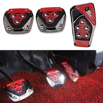 Harga (car foot pedals)Universal #C Red Black Car Manual Brake Gas Clutch Racing Pedal Pads Cover Set Red - intl