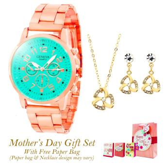 Geneva Lauren Stainless Steel Watch Mother's Day GIFT SET (Mint Green) Price Philippines