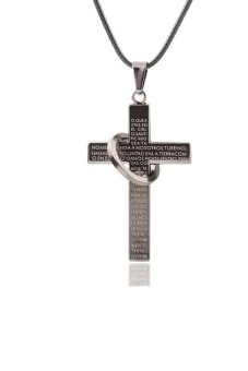 Harga Fashion Cross Necklace For Men's Scriptures Cross Necklace - intl