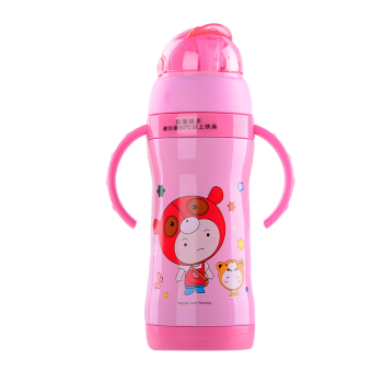 Harga EOZY 360ML Kids Water Bottle Stainless Steel Cute Cartoon Pattern Straw Cup (Pink) - intl
