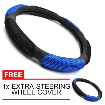 Harga Head Hunter Sandwich Sport Type Steering Wheel Cover with Extra Steering Cover (Blue)