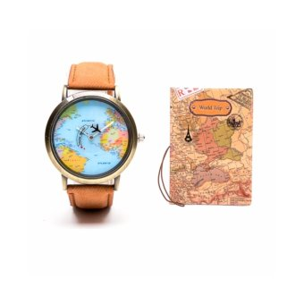 Harga World Trip Leather Watch and Passport Holder set - Brown