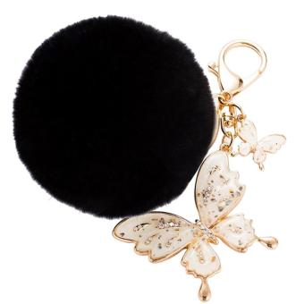Fluffy Fur Ball Hanging Pendant Key Ring Chain with Rhinestone Butterflies Ornament for Bag Purse Wallet Decoration Black - intl Price Philippines