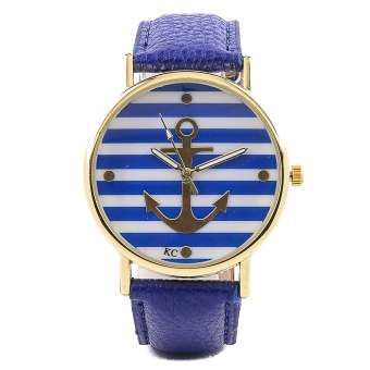 Geneva Anchor and Stripe Print Ladies Leather Watch (Blue) Price Philippines
