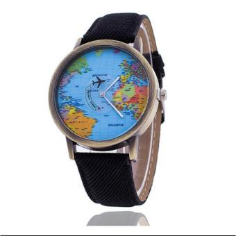 New 2017 Hong Kong High Fashion Leather Map Quarts for Men Women's Wrist Watch (black) Price Philippines