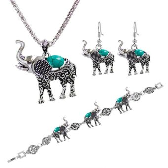 Lady Bohemia National Green Stone Cute Elephant Bracelet Necklace Earring - intl Price Philippines