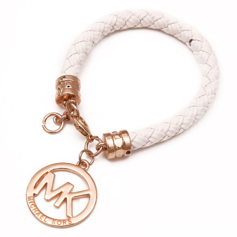 Harga Hequ MK Pendant Leather Rope Bracelet (White)