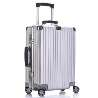 Aluminum alloy magnesium alloy rod box aluminum alloy suitcase universal wheel metal suitcase retro boarding chassis (30 inch aluminum magnesium alloy rod box) - intl Price Philippines