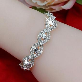 Women Crystal Bracelet Infinity Rhinestone Bangle for Gift - intl Price Philippines