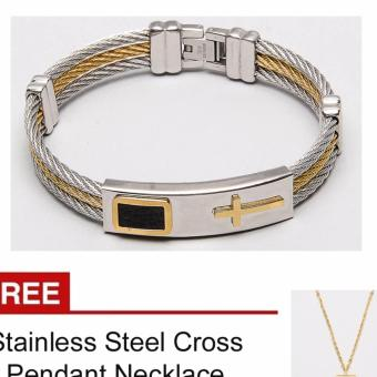 Harga Cross Faith Bangle with Free Stainless Steel Cross Necklace