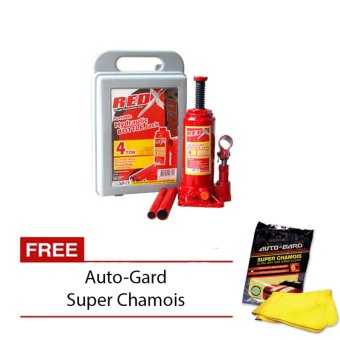 Harga NFSC - Red X Bottle Jack 4 Tons with Free Auto-Gard Super Chamois