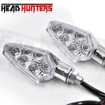 Harga Head Hunters Motorcycle Turn Indicator / Signal Light Amber Blinker (Silver)