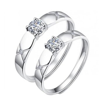 Harga One Pair Couple Rings Silverl Wedding Bands Promise Love Frost gifts Rings
