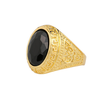 MagiDeal Black Rhinetones Golden Ring Retro Style Engraving Ring 20mm Price Philippines
