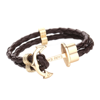 Women Leather Gold Anchor Bracelet(Brown) - Intl Price Philippines