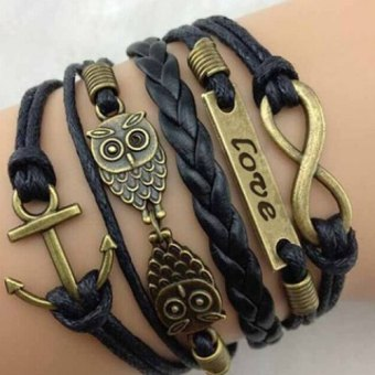 Harga Chic Night Owl Embellished Letter Bracelet For Men and Women black (Intl)