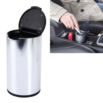 JG-036 Universal Portable Car Auto Stainless Steel Trash Rubbish Bin Ashtray For Most Car Cup Holder (Silver) - intl Price Philippines
