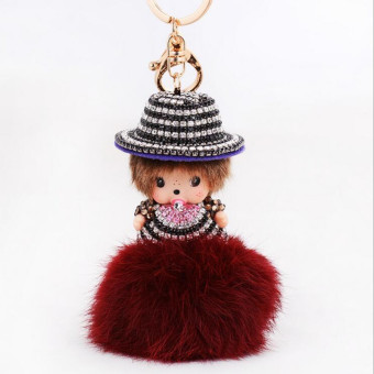 'Pom Pom Inlay Rhinestone Lovely Monchichi Fur Valentine''s Day Gifts Ilaveros Chaveiro Key Chains(Color:Brown)' Price Philippines