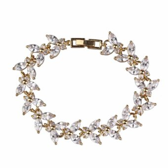 Fashion 18K Gold Plated Diamante Butterflies Romantic White Zircon Bracelet (Intl) Price Philippines