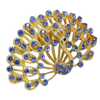 Muslim Peacock Diamond Alloy Brooch (Blue) - intl Price Philippines